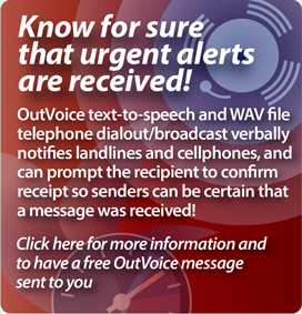 Interpage  OutVoice Text-to-Speech and WAV voice broadcast and messaging service promotional link. Click here for additional details on the Interpage OutVoice service.